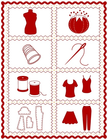 Sewing and Tailoring Icons, tools and supplies for dressmaking, needlework, quilting, darning, do it yourself projects, red rick rack frame