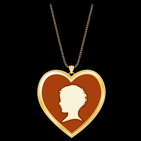 keepsake: Antique Gold Heart Locket, child s cameo silhouette, chain necklace  Vintage keepsake  Isolated on black background