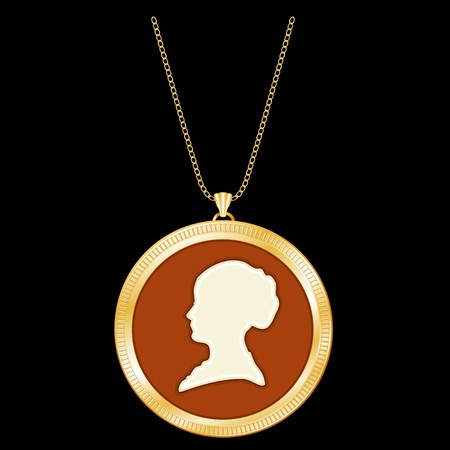 Antique Gold Locket, gentlewoman cameo silhouette, chain necklace  Vintage keepsake  Isolated on black background  Vector