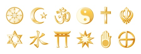 World Religions, Buddhism, Islam, Hindu, Taoism, Christianity, Sikh  Bottom  Judaism, Confucianism, Shinto, Bahai, Jain, Native Spirituality  Gold icons, White background