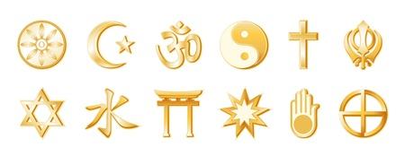 World Religions, Buddhism, Islam, Hindu, Taoism, Christianity, Sikh  Bottom  Judaism, Confucianism, Shinto, Bahai, Jain, Native Spirituality  Gold icons, White background