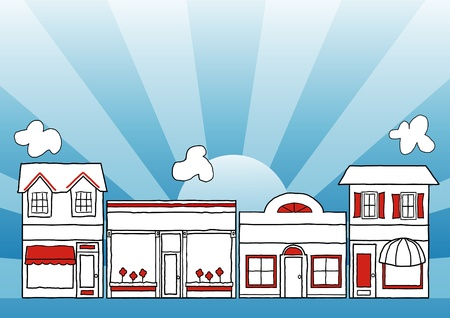 Small Business Main Street; neighborhood community shops and stores illustration; blue ray background; copy space  Vectores