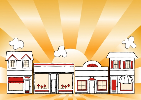 Small Business Main Street; neighborhood community shops and stores illustration; gold ray background; copy space  Vectores