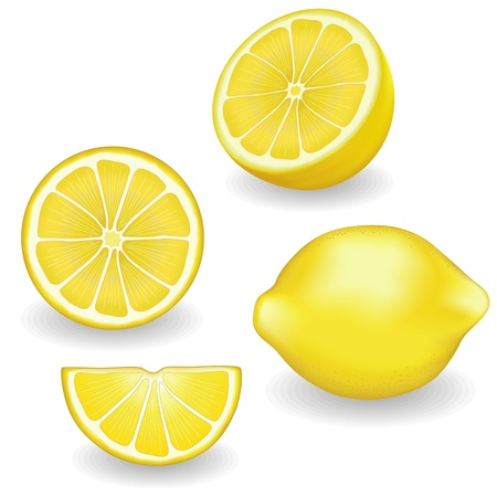 Lemons, fresh, natural, four views  whole, half, slice, wedge, graphic illustrations isolated on white background