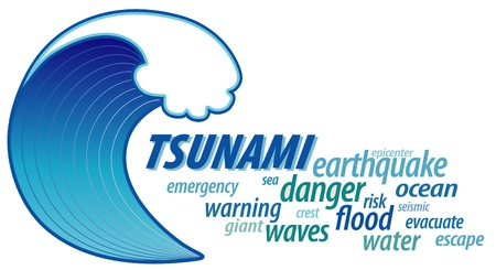 Tsunami Word Cloud, giant ocean wave crest illustration, text 向量圖像