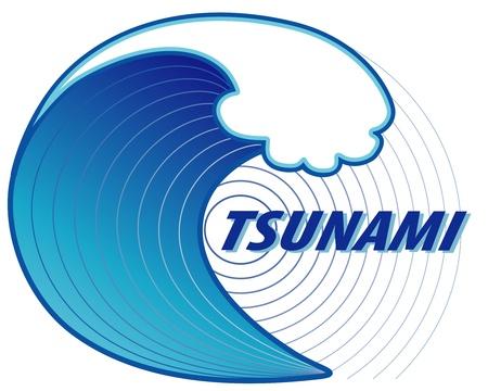 Tsunami  Giant wave crest, ocean earthquake epicenter, text