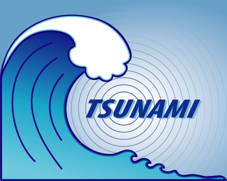 evacuation: Tsunami  Giant wave crest, ocean earthquake epicenter, text