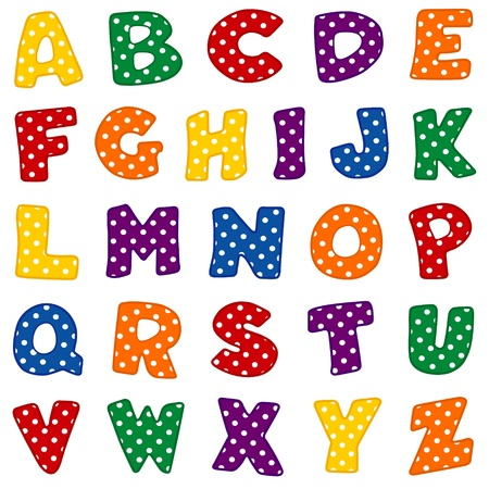 Alphabet, original design in red, blue, green, gold, orange and purple with white polka dots