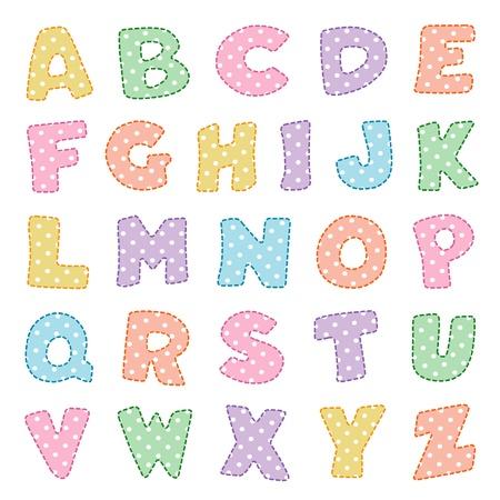 Alphabet, original design in pastels with white polka dots