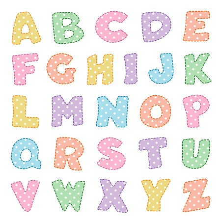 old english letter alphabet: Alphabet, original design in pastels with white polka dots