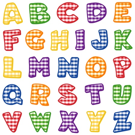 gingham: Alphabet, original design in red, blue, green, gold, orange and purple gingham check