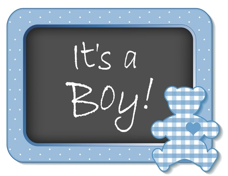 It s a Boy  Baby Teddy Bear Bulletin Board Announcement in pastel blue gingham and polka dots Vector
