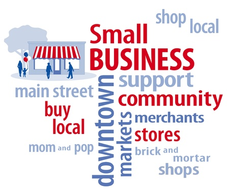 Small Business Word Cloud with customers and main street store in red, white and blue  Çizim