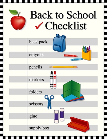 Checklist for Back to School supplies; backpack; crayons; pencils; markers; folders; scissors; glue; supply box; black and white check frame   Иллюстрация