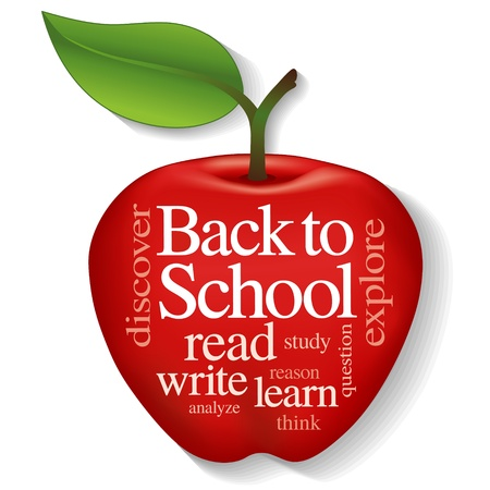 literate: Back to School Word Cloud in big red apple illustration isolated on white background  Illustration