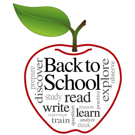 word clouds: Back to School Word Cloud in big red apple illustration isolated on white background