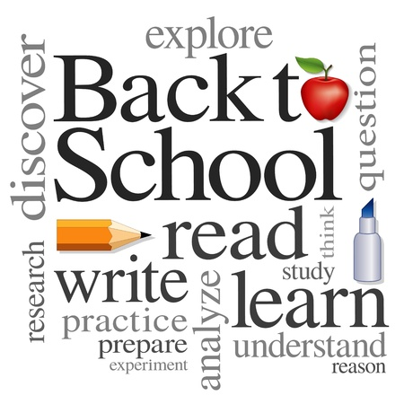 reads: Back to School Word Cloud illustration isolated on white background   Illustration