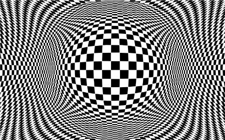 Op Art Abstrait arrière-plan, optique illusion design pattern en échec en noir et blanc avec copie espace