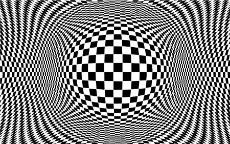 Op Art Abstract Background, optical illusion design pattern in black and white check with copy space