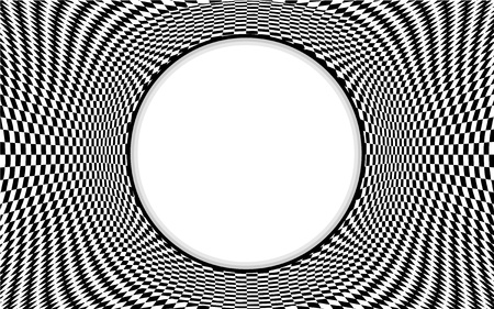 Op Art Frame, optical illusion design pattern in black and white check with copy space Vector