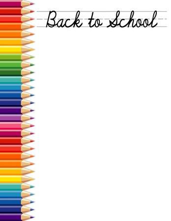 学校の背景に色鉛筆でバックアップし、スペースをコピー  イラスト・ベクター素材