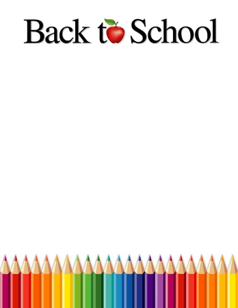 Back to School background with colored pencils, apple for the teacher, copy space  Stock Vector - 17425573