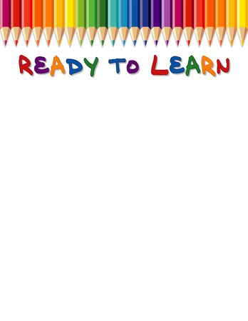 colored school: Ready to Learn background with colored pencils and copy space