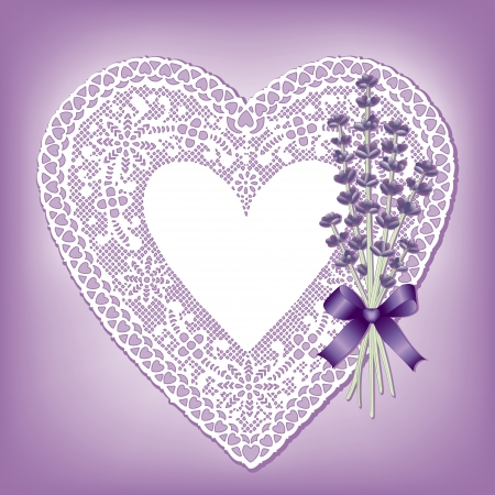 Vintage lace heart doily with Sweet Lavender flower bouquet; copy space; violet background Vettoriali