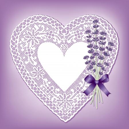 Vintage lace heart doily with Sweet Lavender flower bouquet; copy space; violet background Stock Illustratie