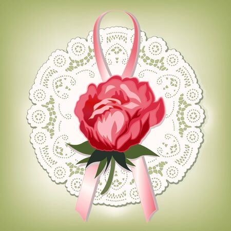 Vintage lace; Victorian style gift; red Rose and ribbon; antique doily; pastel green background Vector