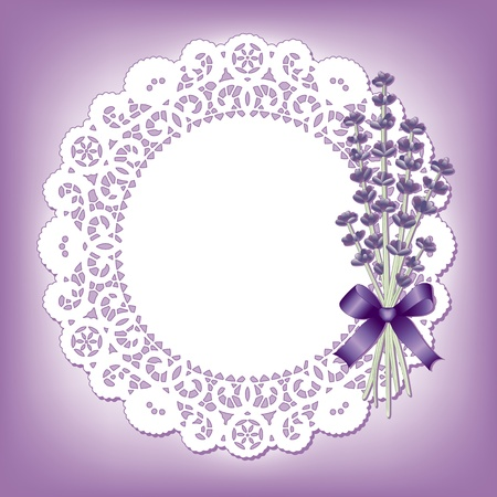 scalloped: Vintage lace doily with Sweet Lavender flower bouquet; copy space; violet background