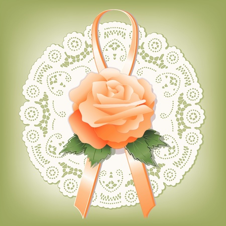 Vintage lace; Victorian style gift; Apricot Rose and ribbon; antique doily; pastel green background