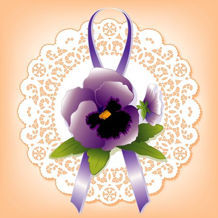 Vintage lace; Victorian style gift; violet Pansy and ribbon; antique doily; pastel apricot background Vector