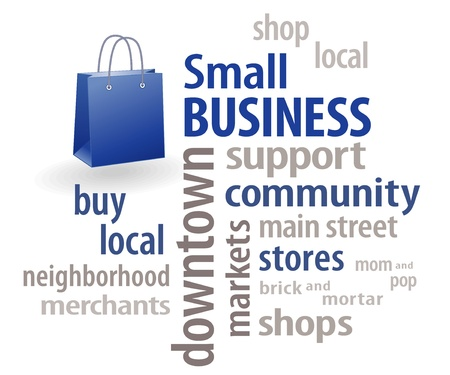 small: Small Business Word Cloud Shopping bag with copy space