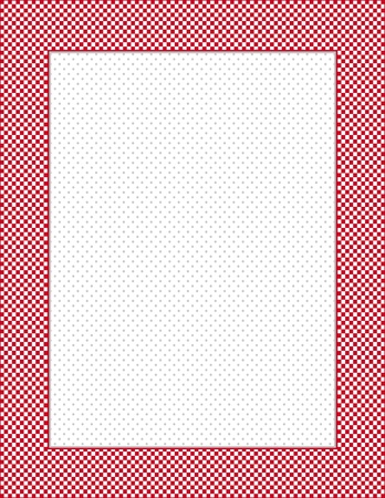 Gingham Check Frame, Polka dot background with copy space, vertical