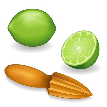 juicer: Limes and Wood Fruit Reamer with whole and half slice illustrations isolated on white background Illustration