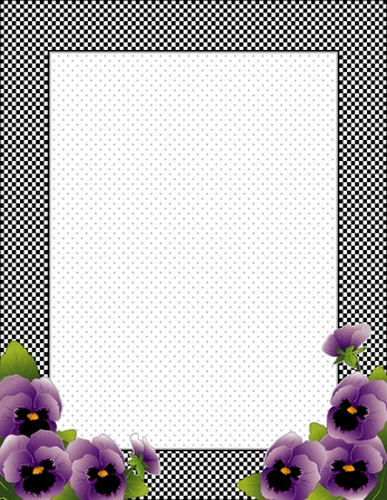 Gingham Check Frame with lavender Pansy flowers, polka dot background with copy space