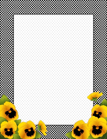 Gingham Check Frame with gold Pansy flowers, polka dot background with copy space