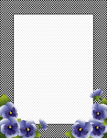 Gingham Check Frame with sky blue Pansy flowers, polka dot background with copy space Illustration