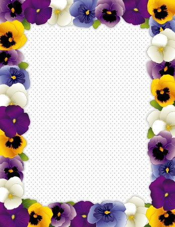 violas: Pansy Flower Frame, polka dot background with copy space, Violas in lavender, purple, blue, gold and white