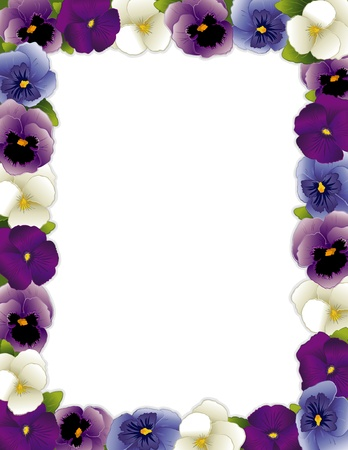 violas: Pansy Flower Frame, Violas in lavender, purple, blue and white, with copy space