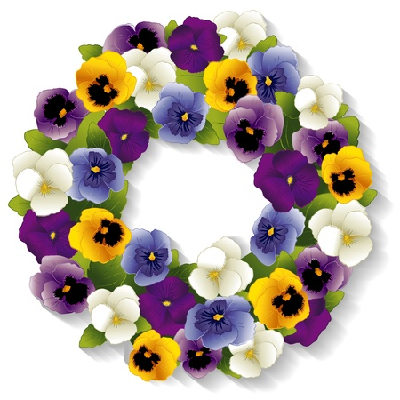 Pansy Wreath with spring Viola flowers in purple, lavender, blue, gold and white; isolated on white background, copy space