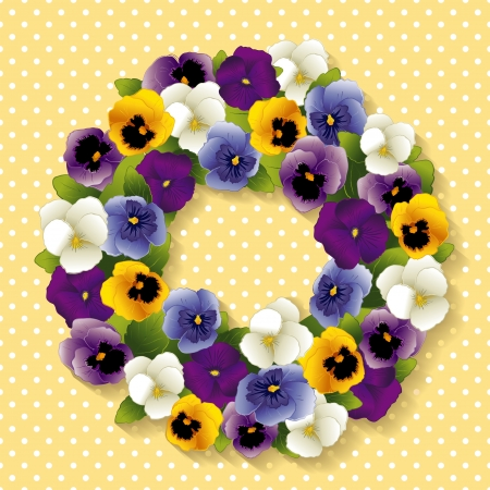 Pansy Wreath with spring Viola flowers in purple, lavender, blue, gold and white; pastel yellow background with white polka dots and copy space  Vector