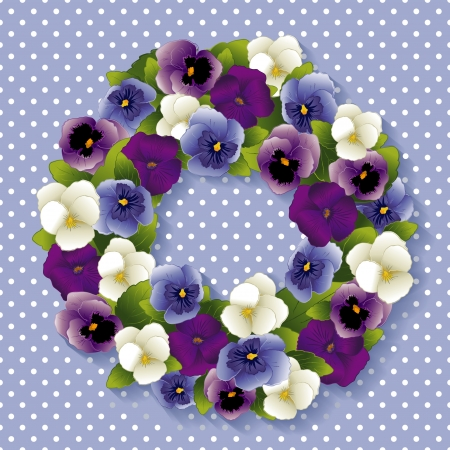 Pansy Wreath with spring Viola flowers in purple, lavender, blue and white; pastel blue background with white polka dots and copy space  Vector