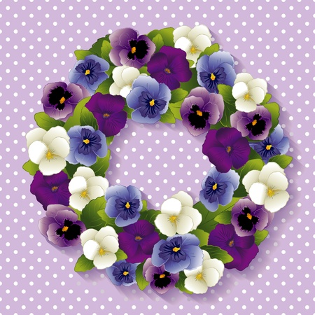 Pansy Wreath with spring Viola flowers in purple, lavender, blue and white, pastel lavender background with white polka dots, copy space  Illustration