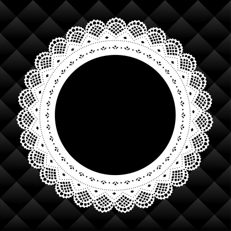 round: Vintage Lace Picture Frame round doily diamond quilted background; copy space; black and white