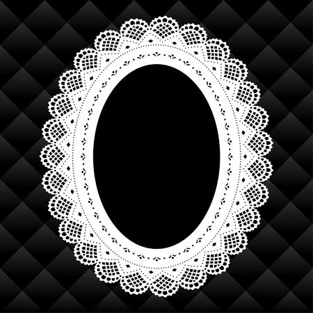 an oval: Picture Frame Vintage Lace doily diamante ovalado acolchado fondo, copia, espacio, blanco y negro