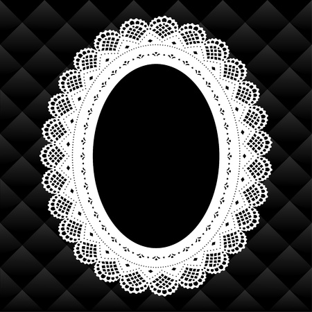 Vintage Lace Picture Frame oval doily diamond quilted background; copy space; black and white Stock Illustratie