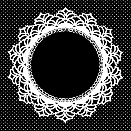 Vintage Lace Picture Frame round doily with polka dot background; copy space; black and white Vettoriali