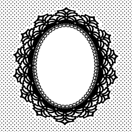 Vintage Lace Picture Frame oval doily with polka dot background; copy space; black and white Vettoriali